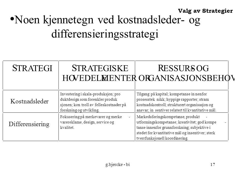 Noen kjennetegn ved kostnadsleder- og differensieringsstrategi