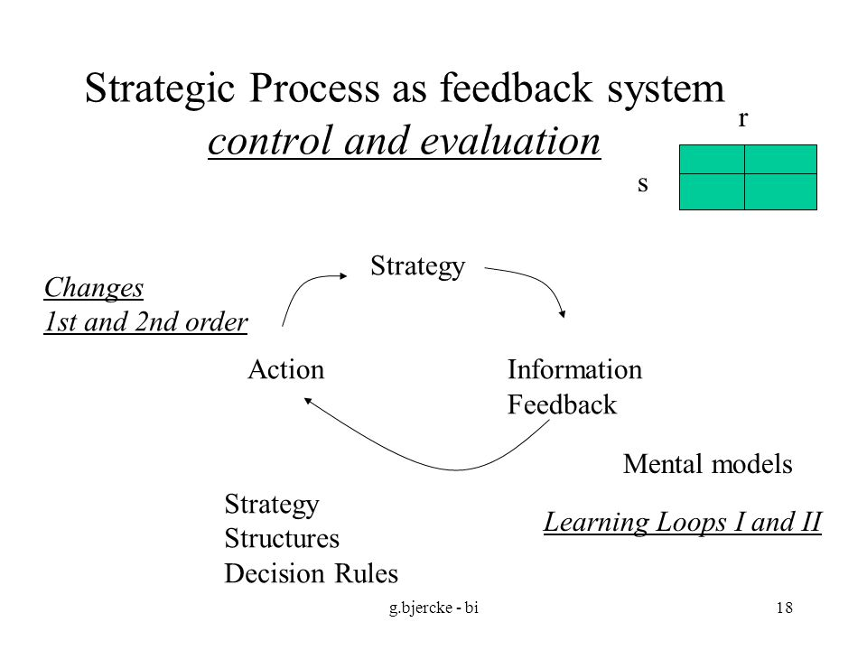 Strategic Process as feedback system control and evaluation