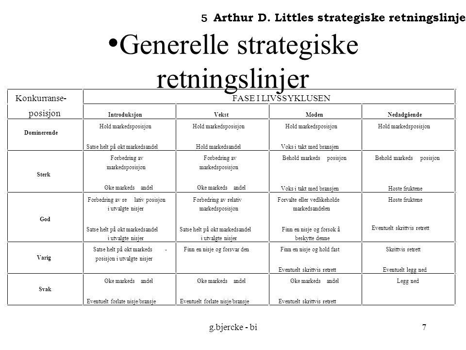 Generelle strategiske retningslinjer