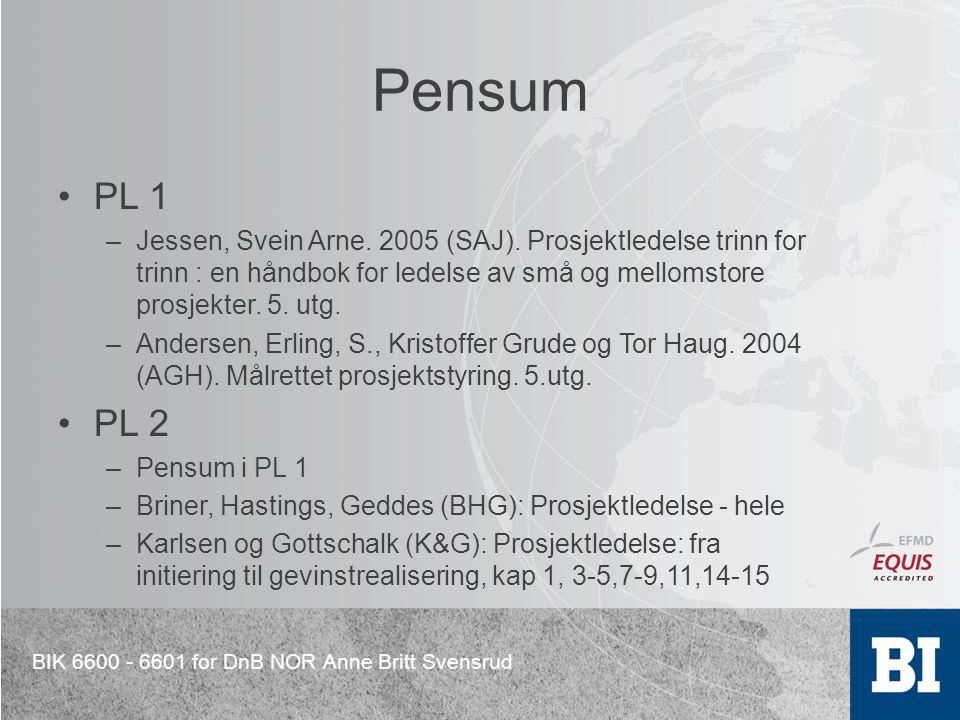 Pensum PL 1. Jessen, Svein Arne. 2005 (SAJ). Prosjektledelse trinn for trinn : en håndbok for ledelse av små og mellomstore prosjekter. 5. utg.