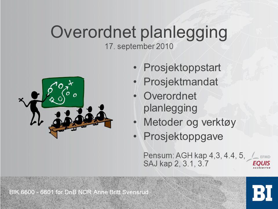 Overordnet planlegging 17. september 2010