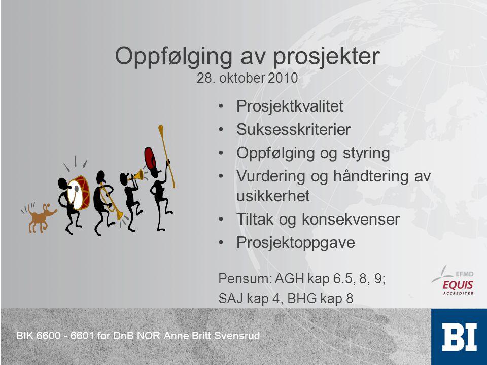 Oppfølging av prosjekter 28. oktober 2010