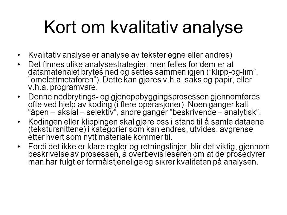 Kort om kvalitativ analyse