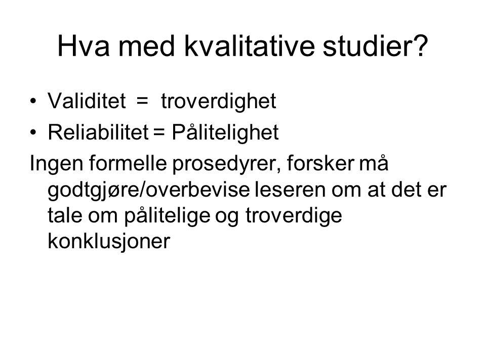Hva med kvalitative studier