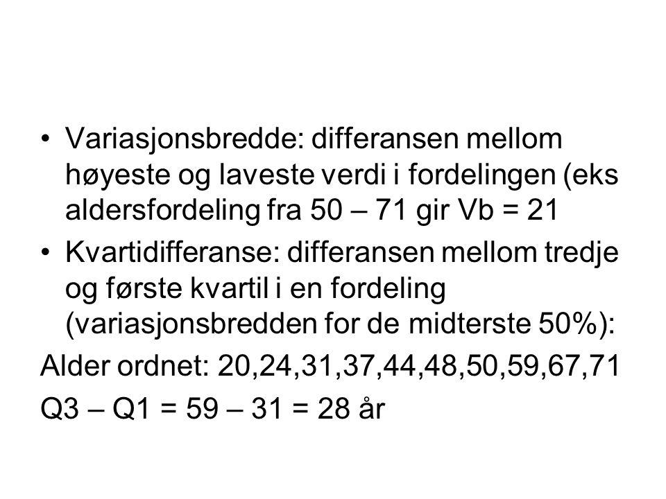 Variasjonsbredde: differansen mellom høyeste og laveste verdi i fordelingen (eks aldersfordeling fra 50 – 71 gir Vb = 21