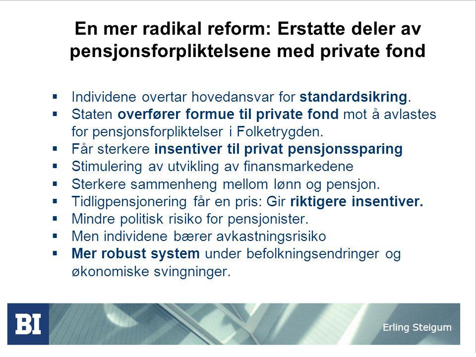 En mer radikal reform: Erstatte deler av pensjonsforpliktelsene med private fond