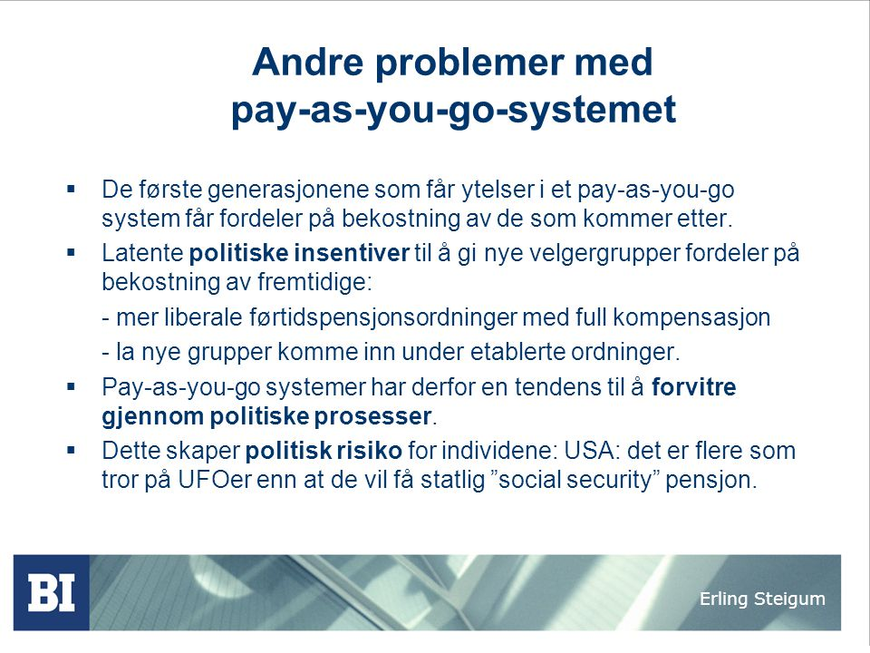Andre problemer med pay-as-you-go-systemet