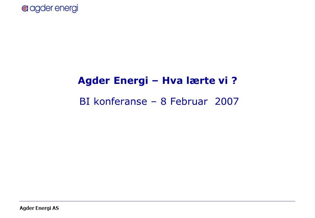 Agder Energi – Hva lærte vi BI konferanse – 8 Februar 2007