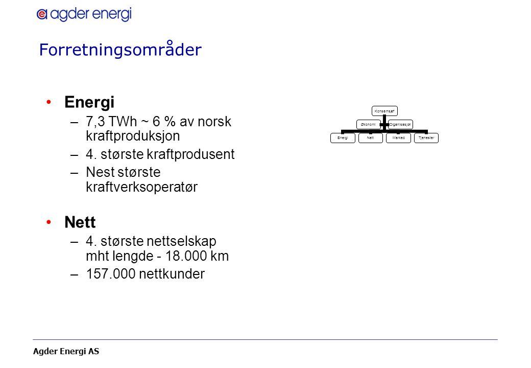 Forretningsområder Energi Nett 7,3 TWh ~ 6 % av norsk kraftproduksjon