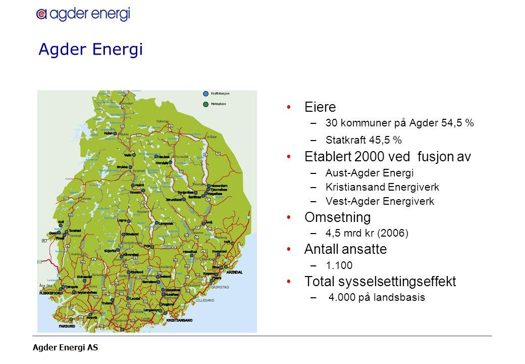 Agder Energi Eiere Etablert 2000 ved fusjon av Omsetning