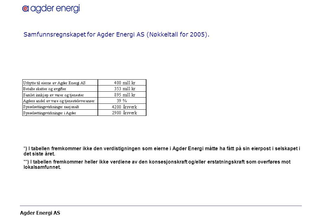 Samfunnsregnskapet for Agder Energi AS (Nøkkeltall for 2005).
