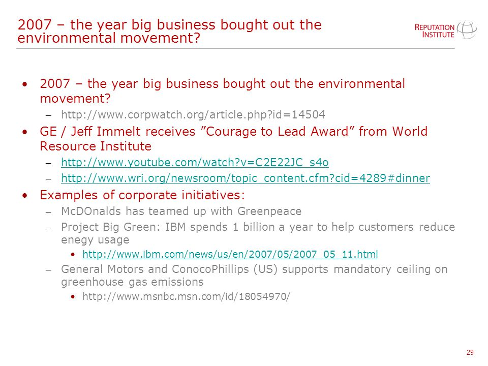 2007 – the year big business bought out the environmental movement