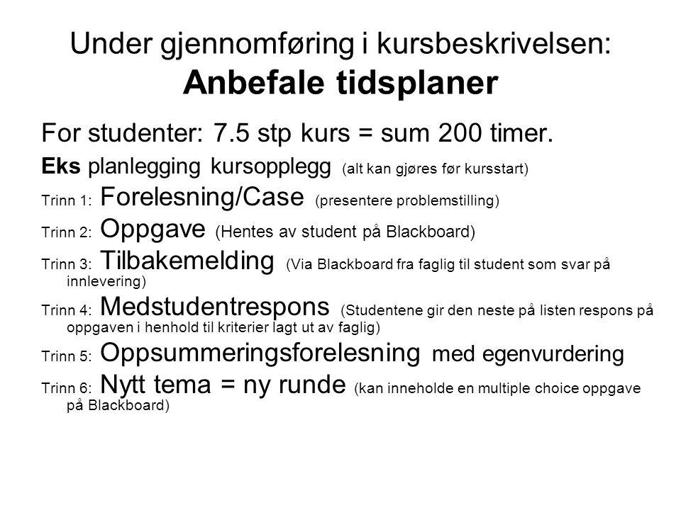 Under gjennomføring i kursbeskrivelsen: Anbefale tidsplaner