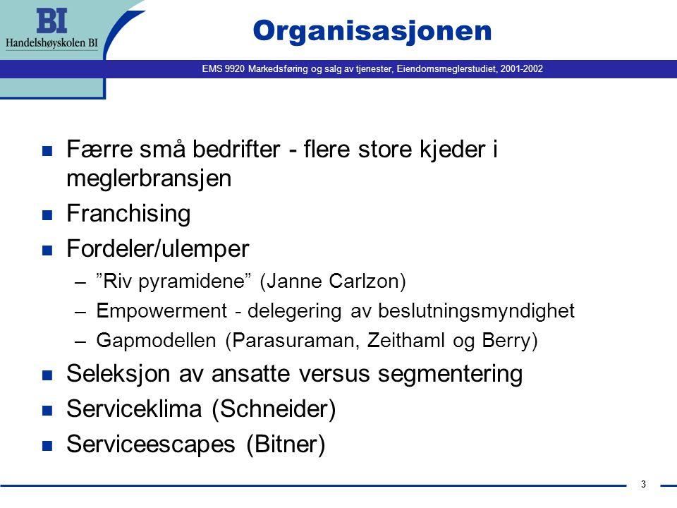 Organisasjonen Færre små bedrifter - flere store kjeder i meglerbransjen. Franchising. Fordeler/ulemper.