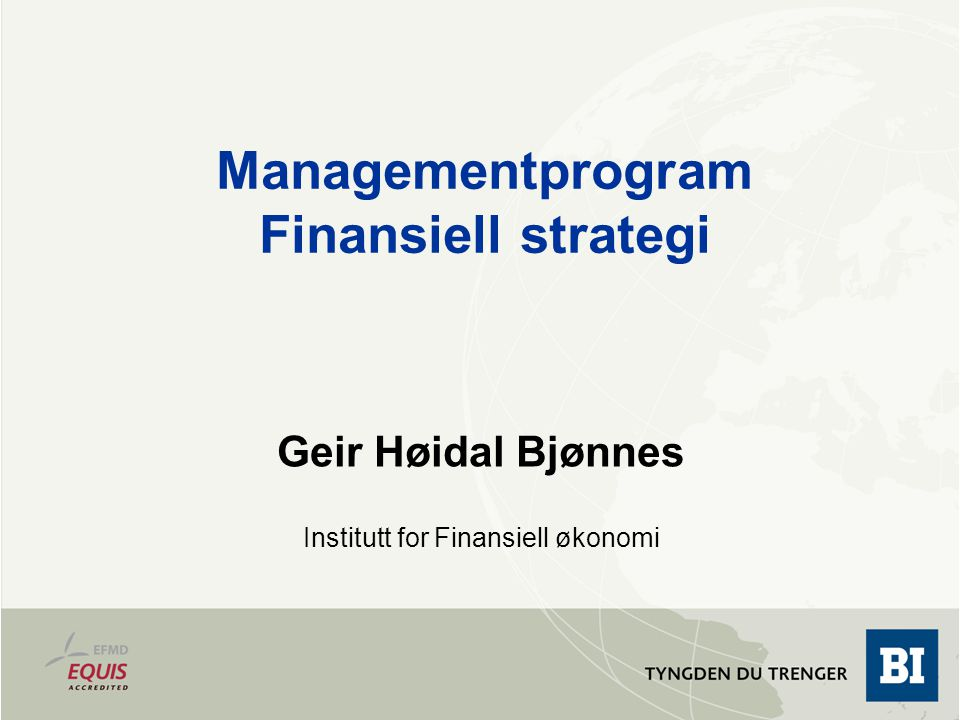 Managementprogram Finansiell strategi