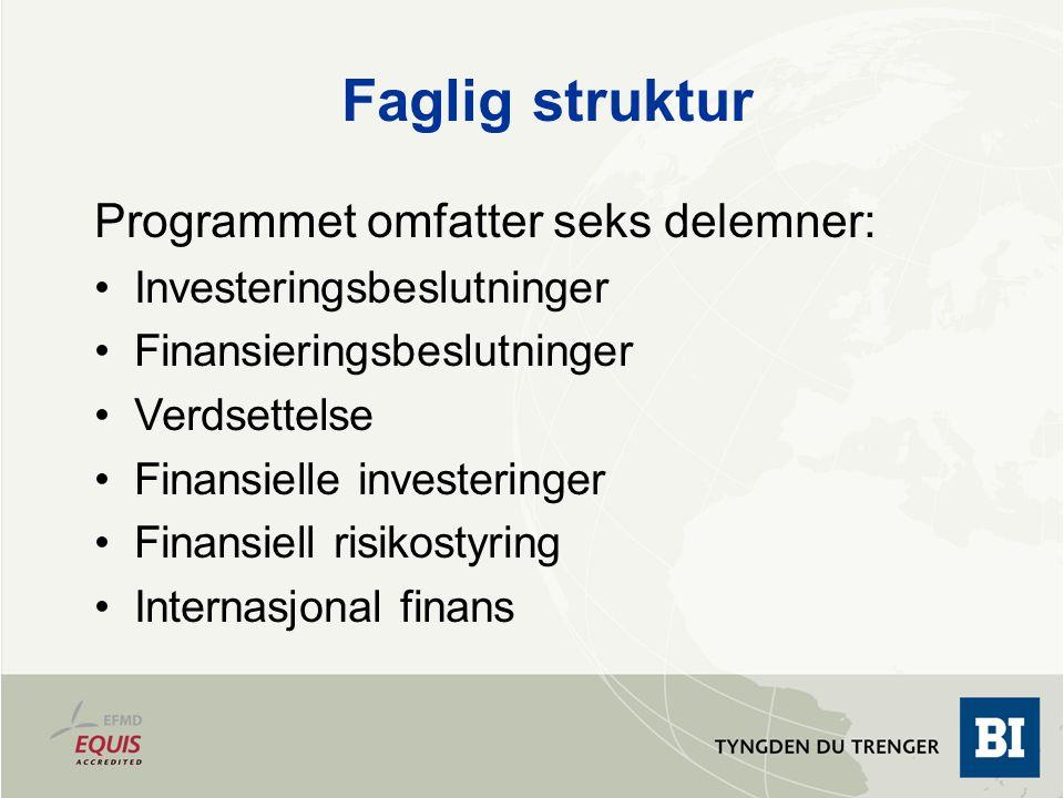 Faglig struktur Programmet omfatter seks delemner: