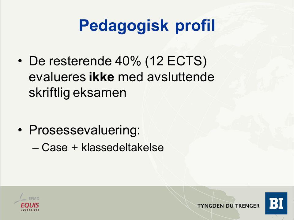 August 13, 2009 Pedagogisk profil. De resterende 40% (12 ECTS) evalueres ikke med avsluttende skriftlig eksamen.