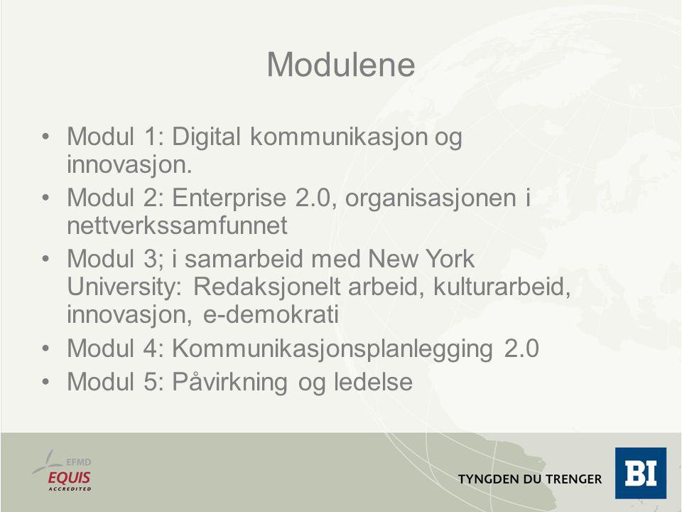 Modulene Modul 1: Digital kommunikasjon og innovasjon.