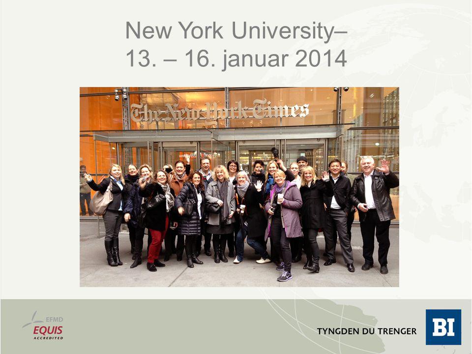 New York University– 13. – 16. januar 2014