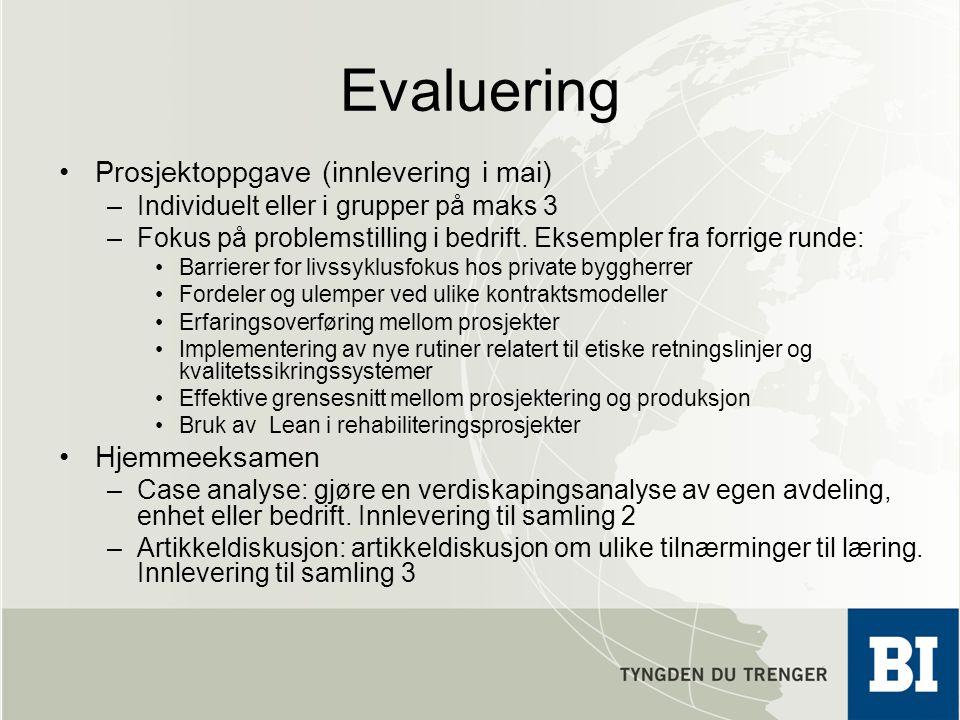 Evaluering Prosjektoppgave (innlevering i mai) Hjemmeeksamen