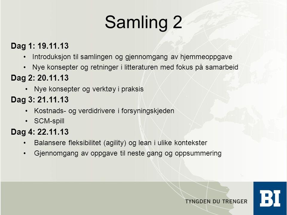 Samling 2 Dag 1: 19.11.13. Introduksjon til samlingen og gjennomgang av hjemmeoppgave.