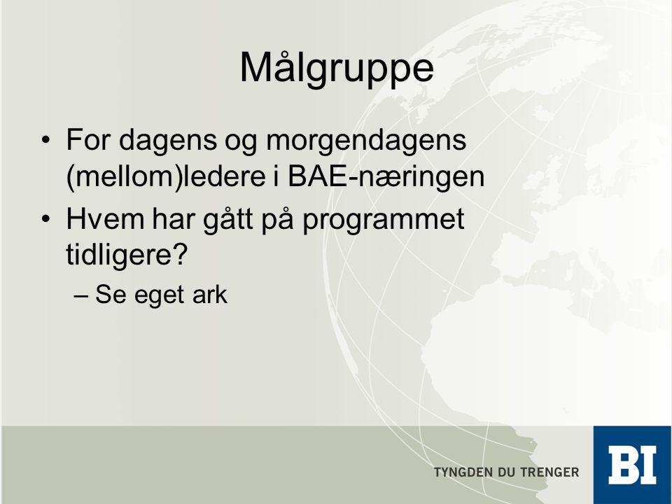 Målgruppe For dagens og morgendagens (mellom)ledere i BAE-næringen