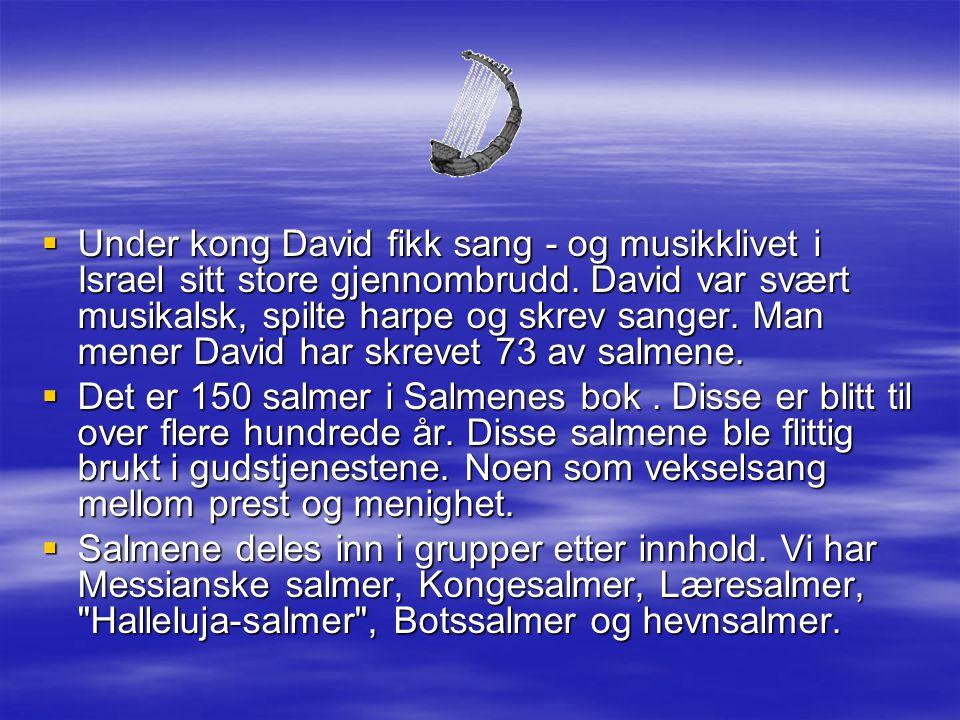 Under kong David fikk sang - og musikklivet i Israel sitt store gjennombrudd. David var svært musikalsk, spilte harpe og skrev sanger. Man mener David har skrevet 73 av salmene.