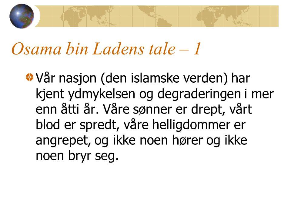 Osama bin Ladens tale – 1