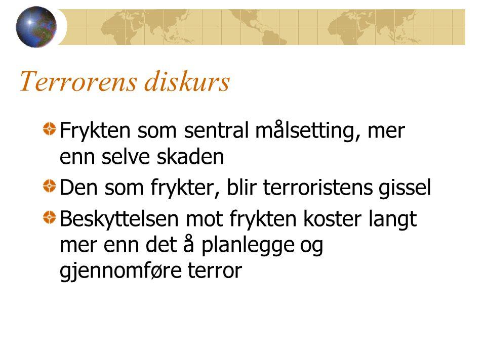 Terrorens diskurs Frykten som sentral målsetting, mer enn selve skaden