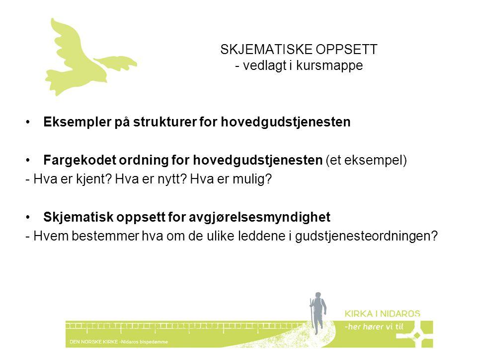 SKJEMATISKE OPPSETT - vedlagt i kursmappe