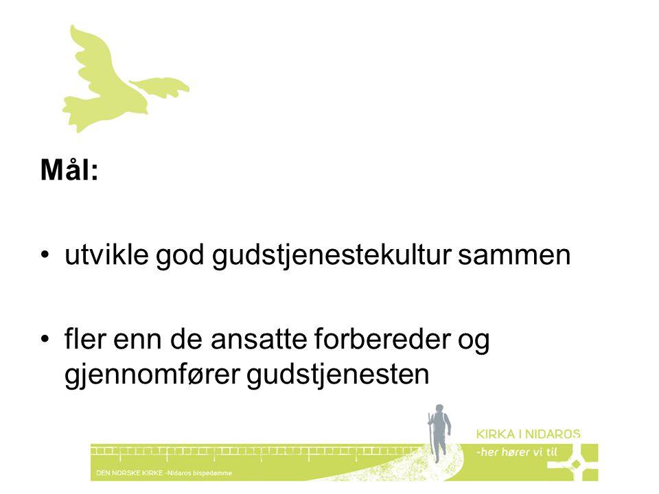 Mål: utvikle god gudstjenestekultur sammen.