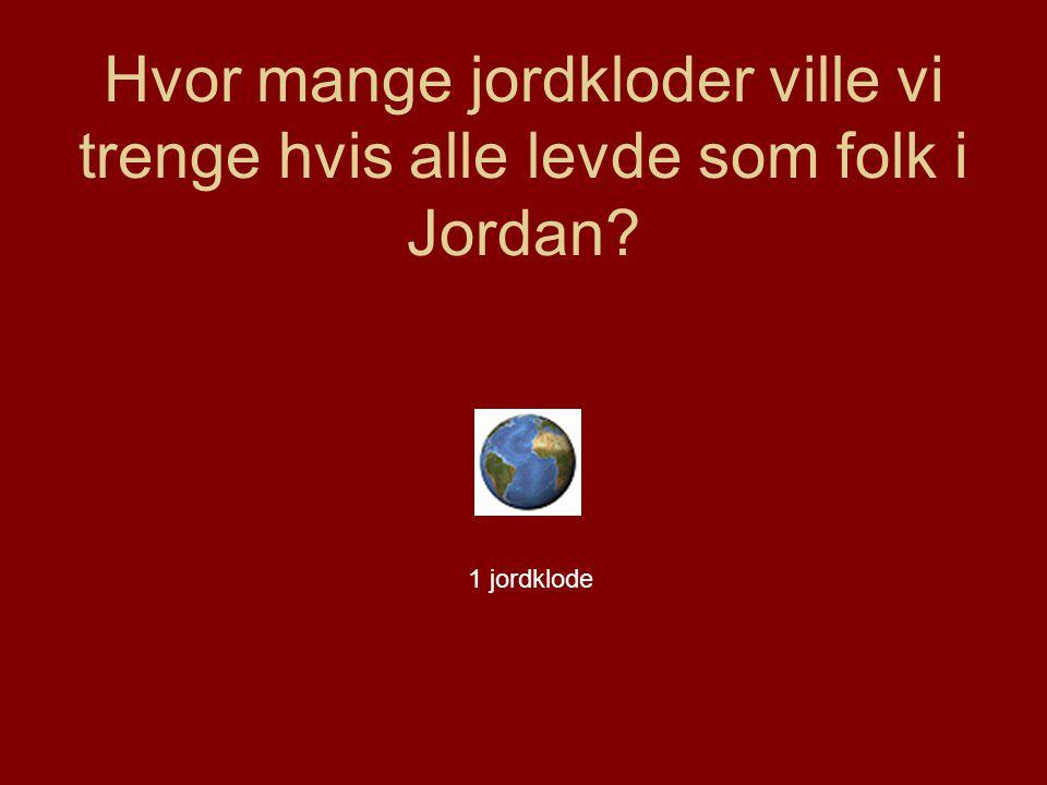 Hvor mange jordkloder ville vi trenge hvis alle levde som folk i Jordan