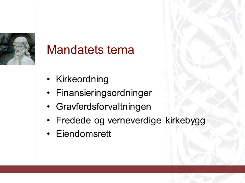 Mandatets tema Kirkeordning Finansieringsordninger
