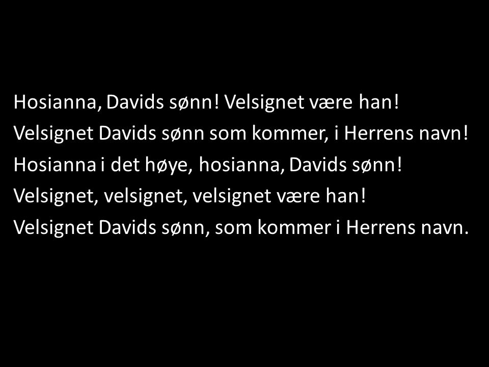 Hosianna, Davids sønn! Velsignet være han!