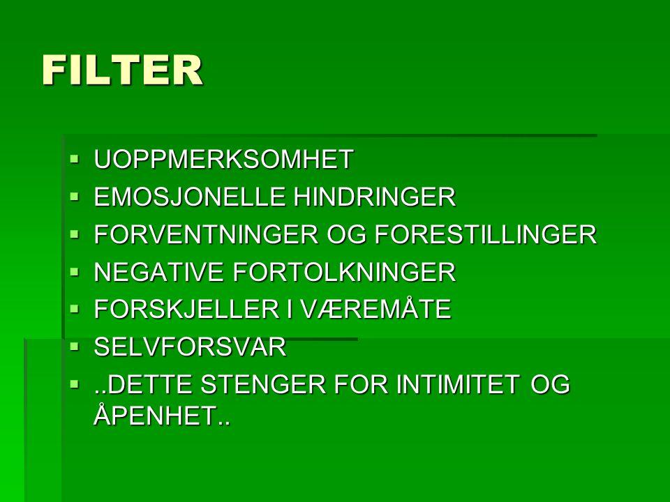 FILTER UOPPMERKSOMHET EMOSJONELLE HINDRINGER