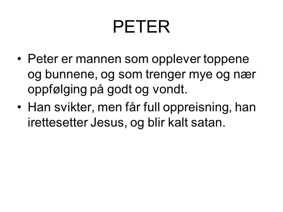 PETER Peter er mannen som opplever toppene og bunnene, og som trenger mye og nær oppfølging på godt og vondt.