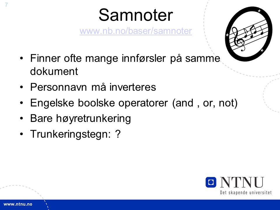 Samnoter www.nb.no/baser/samnoter