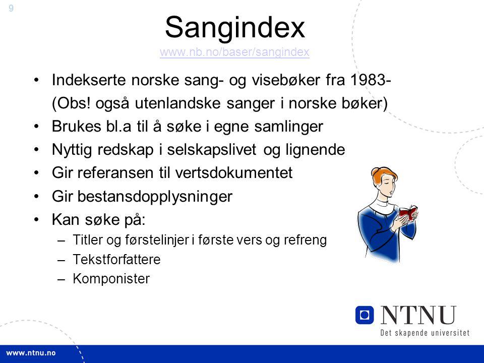 Sangindex www.nb.no/baser/sangindex