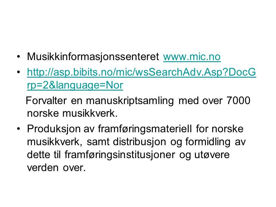 Musikkinformasjonssenteret www.mic.no