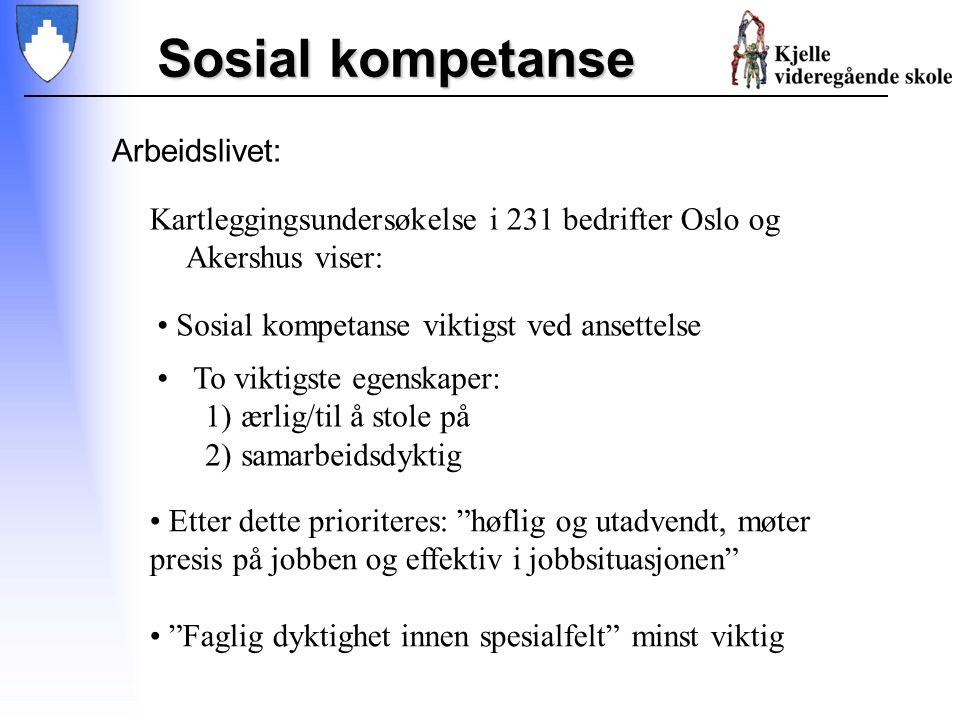 Sosial kompetanse Arbeidslivet: