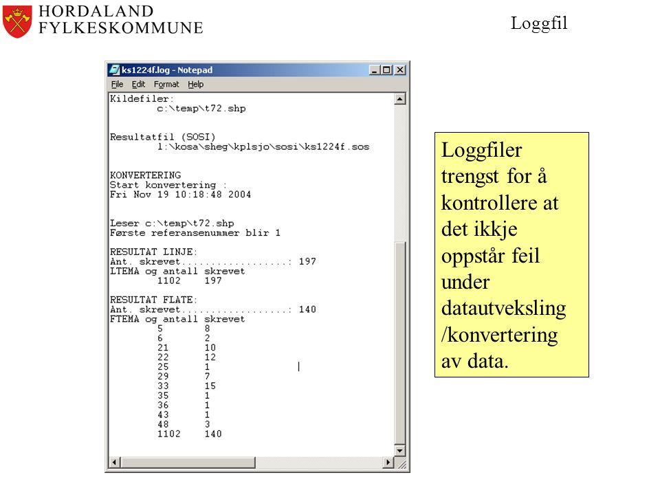 Loggfil Loggfiler trengst for å kontrollere at det ikkje oppstår feil under datautveksling /konvertering av data.