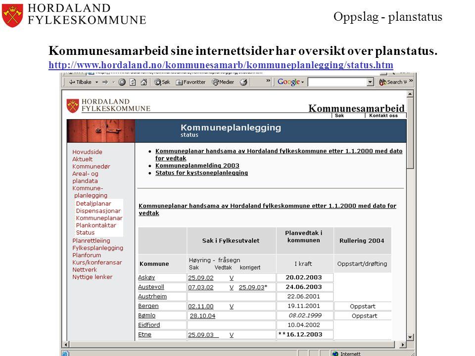 Kommunesamarbeid sine internettsider har oversikt over planstatus.