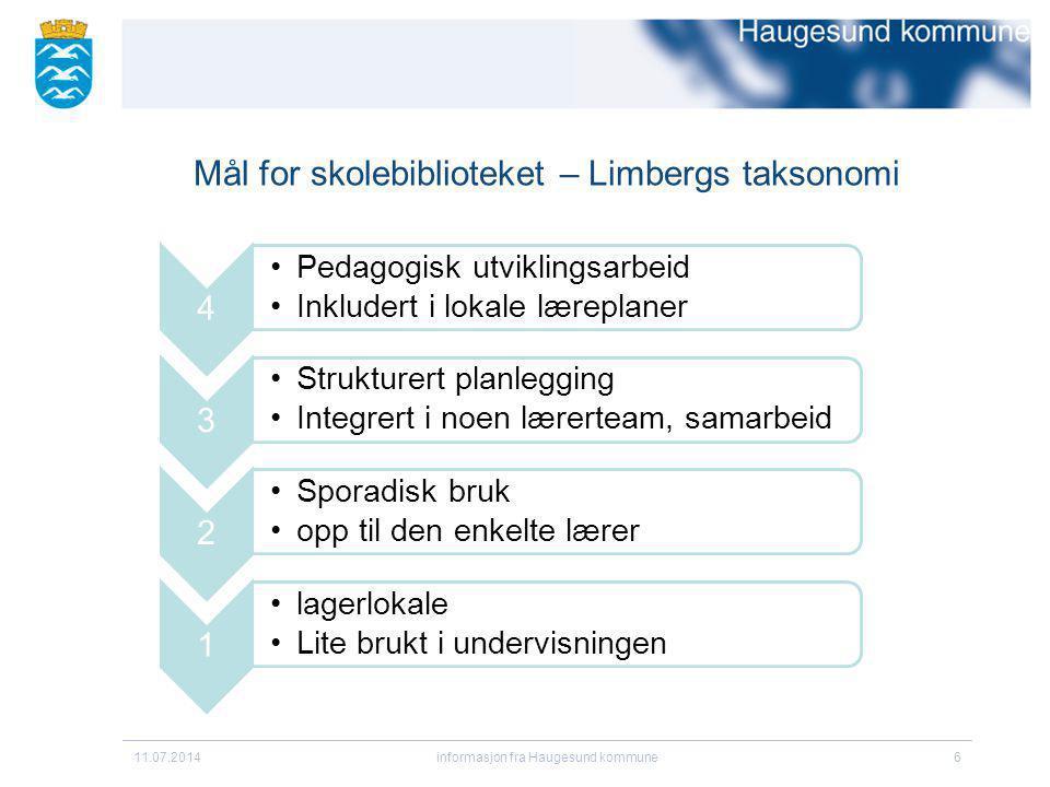 Mål for skolebiblioteket – Limbergs taksonomi