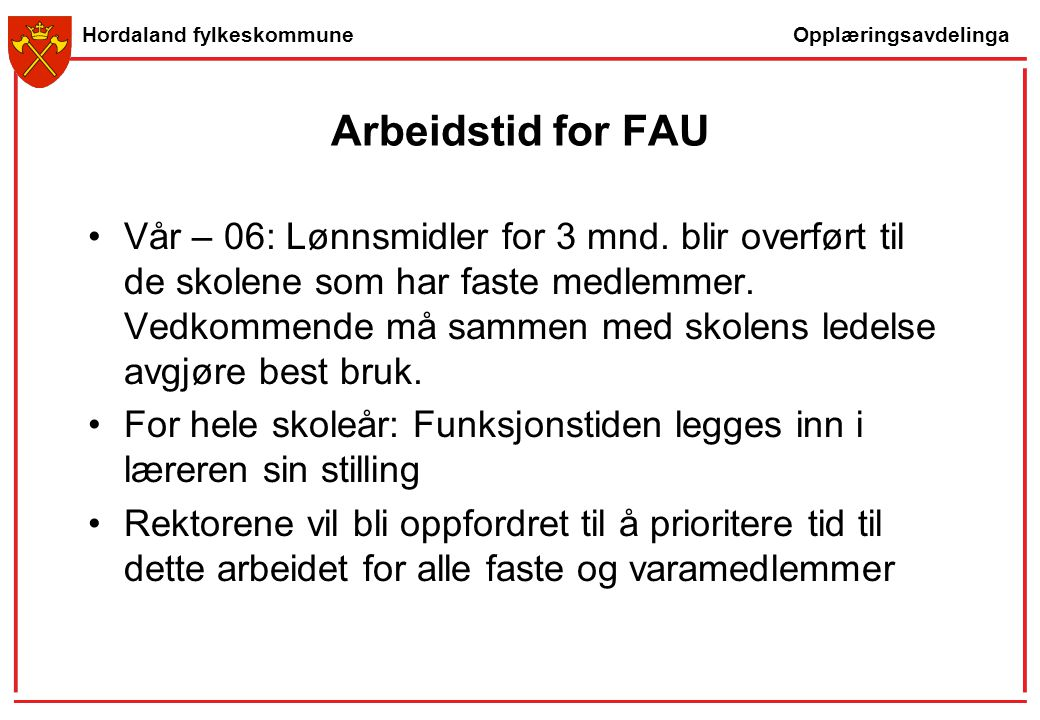 Arbeidstid for FAU