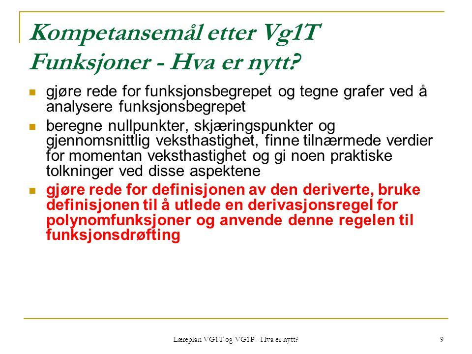 Kompetansemål etter Vg1T Funksjoner - Hva er nytt