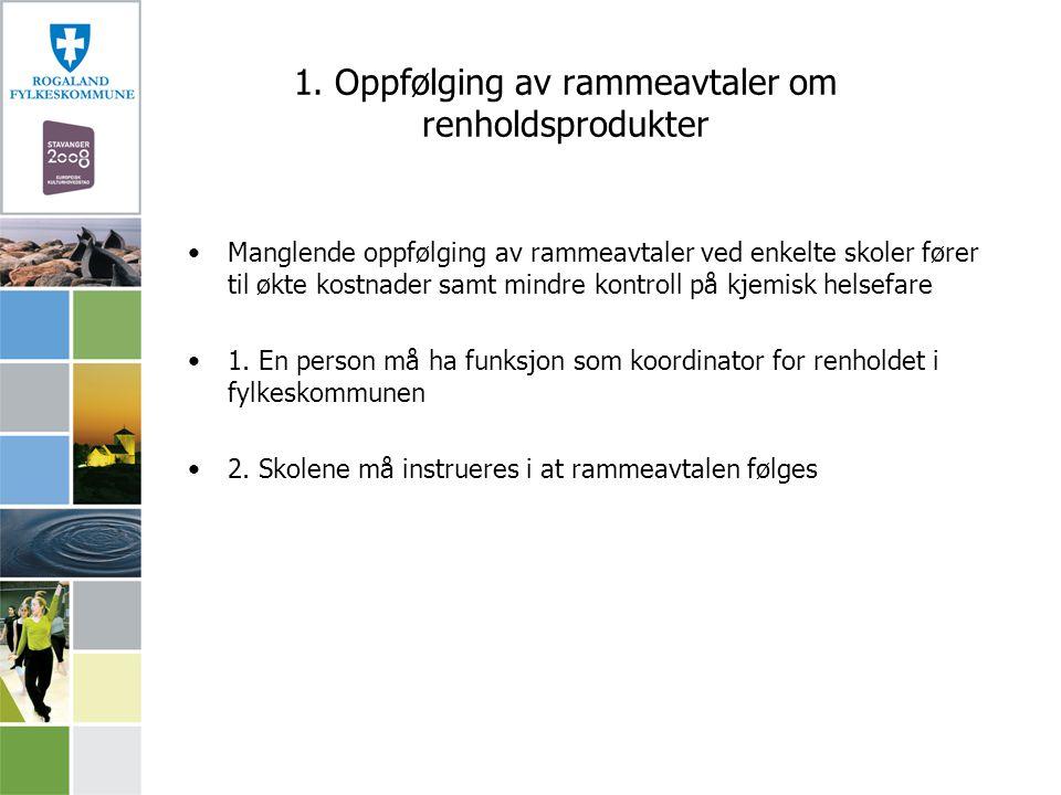 1. Oppfølging av rammeavtaler om renholdsprodukter