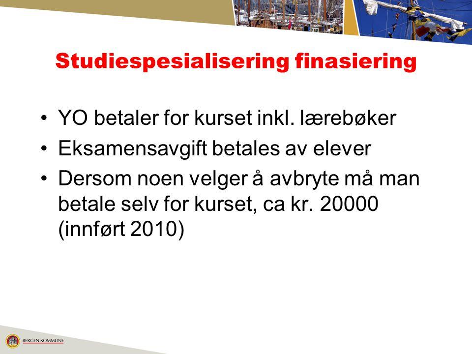 Studiespesialisering finasiering