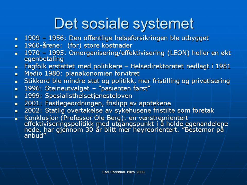 Det sosiale systemet 1909 – 1956: Den offentlige helseforsikringen ble utbygget. 1960-årene: (for) store kostnader.
