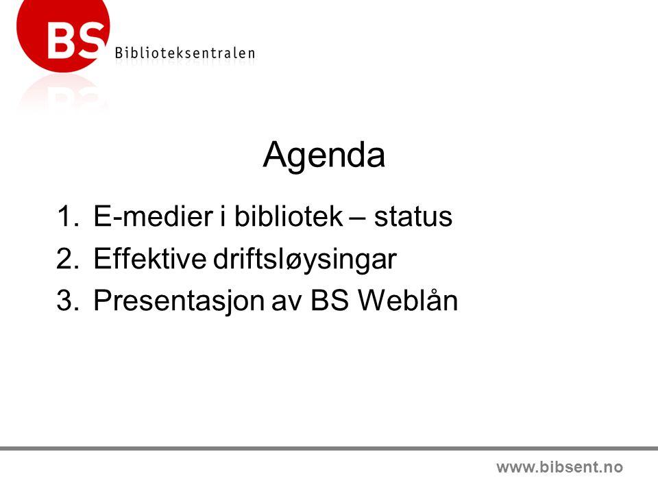 Agenda E-medier i bibliotek – status Effektive driftsløysingar