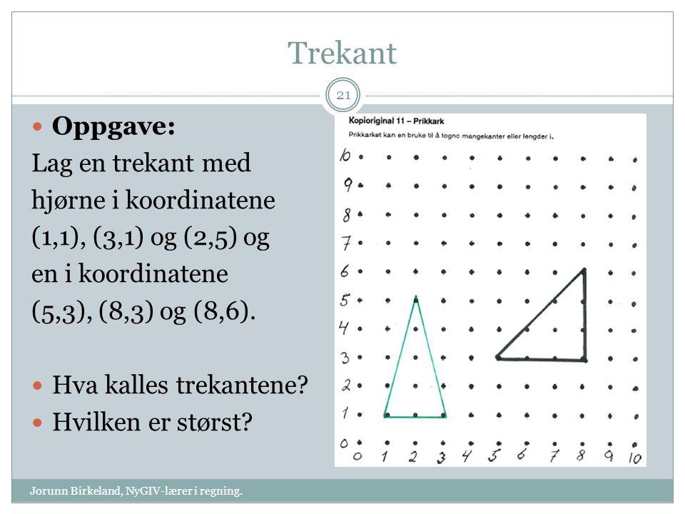 Trekant Oppgave: Lag en trekant med hjørne i koordinatene